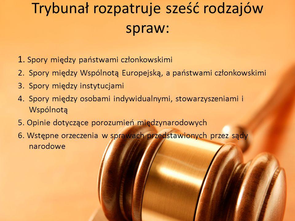 Trybunał rozpatruje sześć rodzajów spraw: