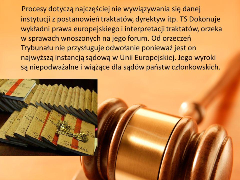 Procesy dotyczą najczęściej nie wywiązywania się danej instytucji z postanowień traktatów, dyrektyw itp.