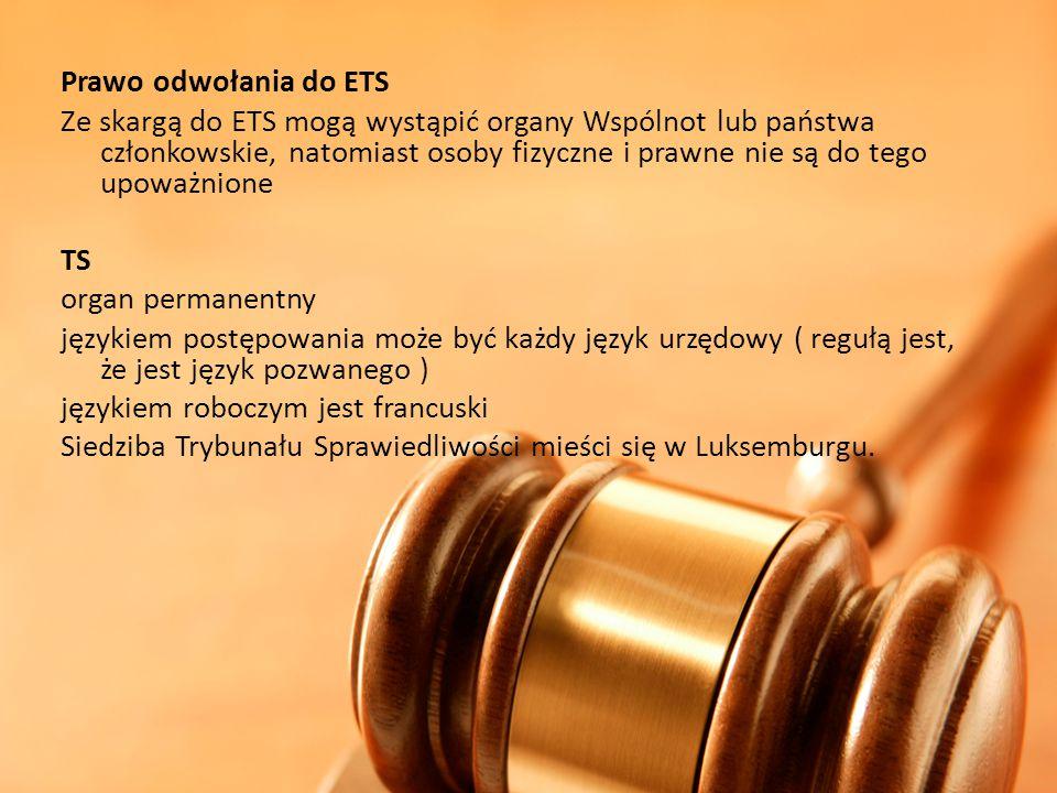Prawo odwołania do ETS.