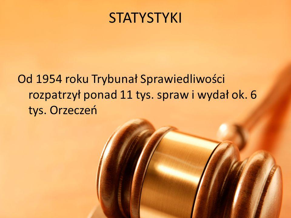 STATYSTYKI Od 1954 roku Trybunał Sprawiedliwości rozpatrzył ponad 11 tys.
