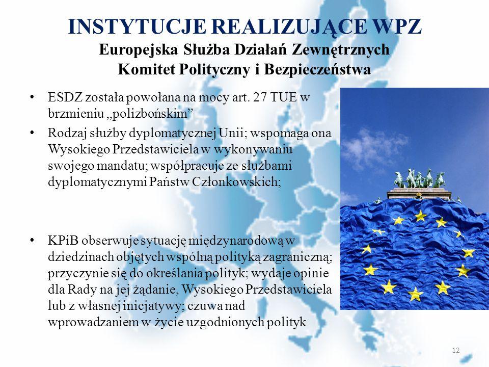 INSTYTUCJE REALIZUJĄCE WPZ Europejska Służba Działań Zewnętrznych Komitet Polityczny i Bezpieczeństwa