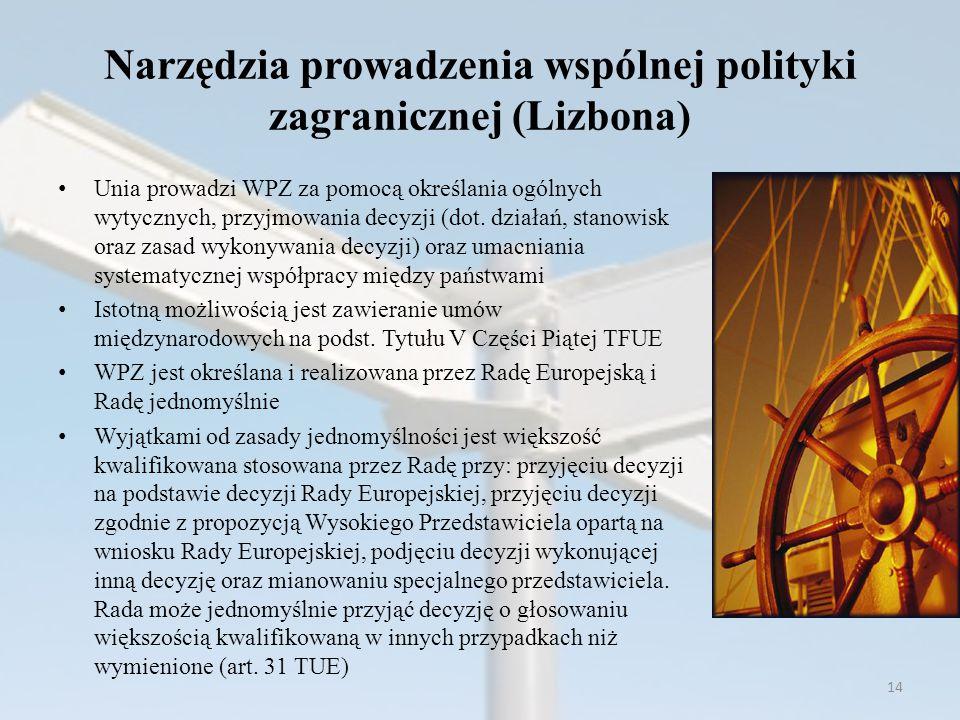 Narzędzia prowadzenia wspólnej polityki zagranicznej (Lizbona)