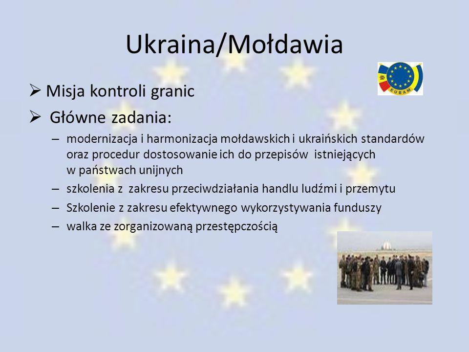 Ukraina/Mołdawia Misja kontroli granic Główne zadania: