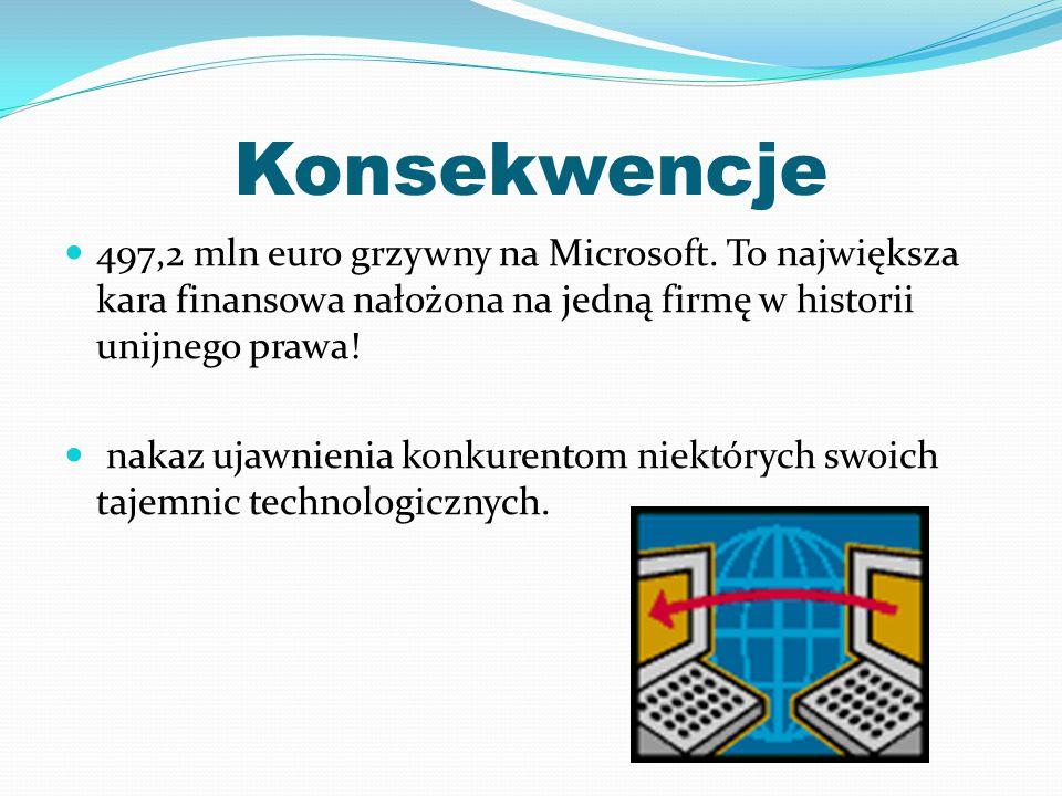 Konsekwencje 497,2 mln euro grzywny na Microsoft. To największa kara finansowa nałożona na jedną firmę w historii unijnego prawa!