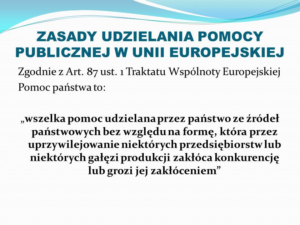 ZASADY UDZIELANIA POMOCY PUBLICZNEJ W UNII EUROPEJSKIEJ