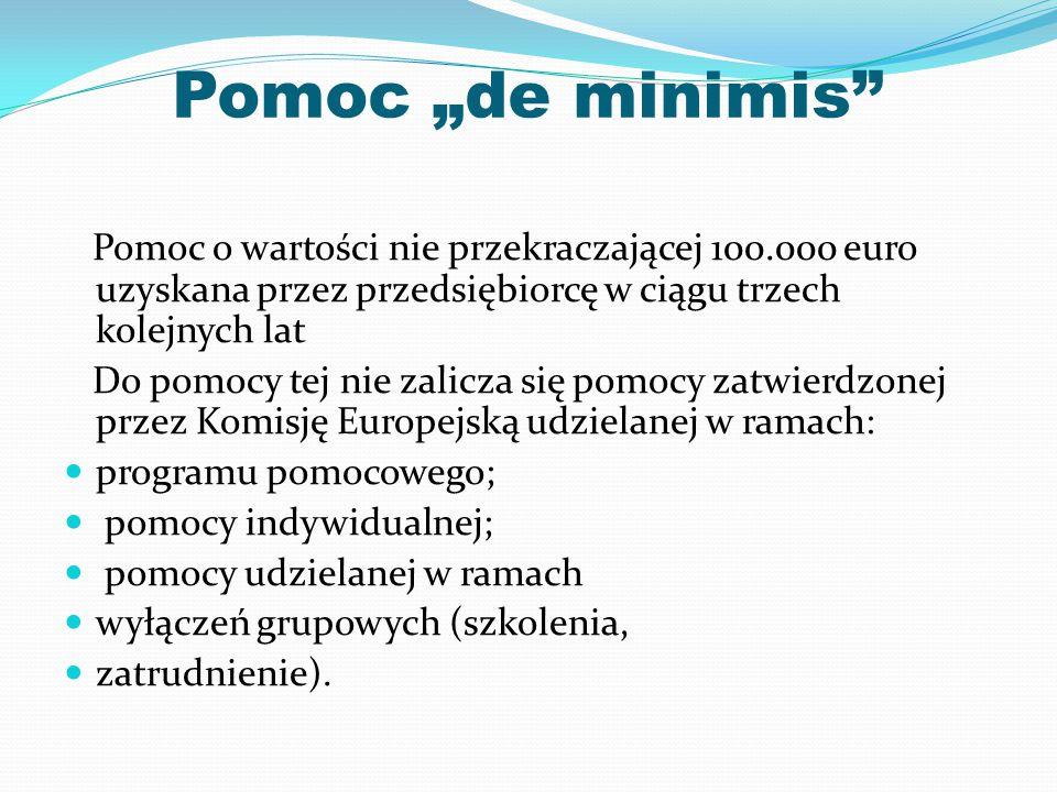 """Pomoc """"de minimis Pomoc o wartości nie przekraczającej 100.000 euro uzyskana przez przedsiębiorcę w ciągu trzech kolejnych lat."""