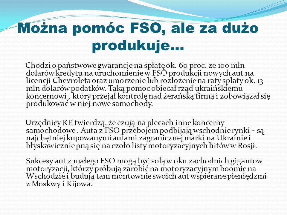 Można pomóc FSO, ale za dużo produkuje…