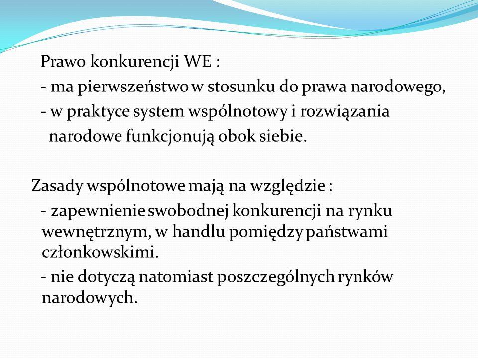 Prawo konkurencji WE : - ma pierwszeństwo w stosunku do prawa narodowego, - w praktyce system wspólnotowy i rozwiązania narodowe funkcjonują obok siebie.