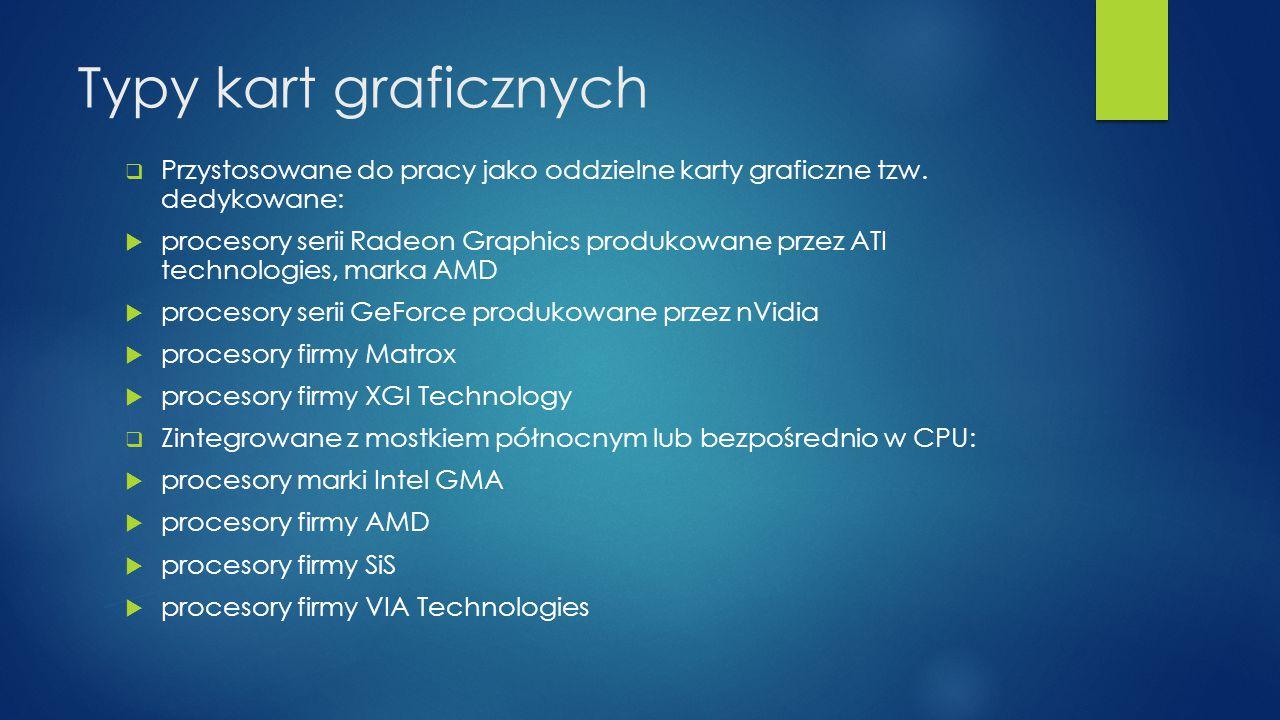 Typy kart graficznych Przystosowane do pracy jako oddzielne karty graficzne tzw. dedykowane: