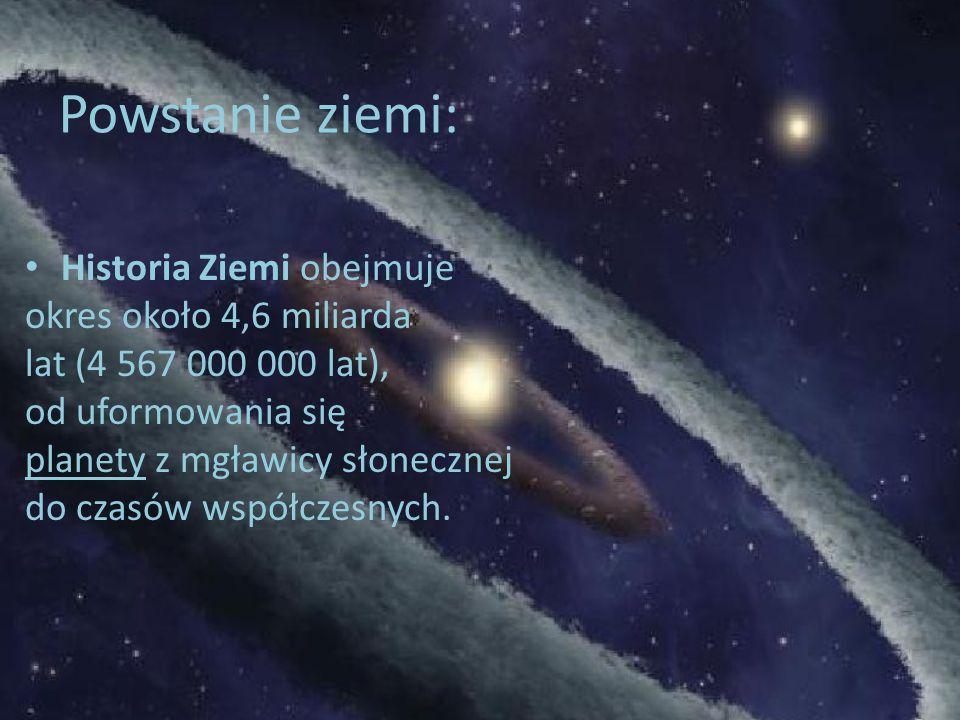 Powstanie ziemi: Historia Ziemi obejmuje okres około 4,6 miliarda
