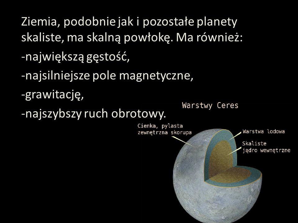 Ziemia, podobnie jak i pozostałe planety skaliste, ma skalną powłokę