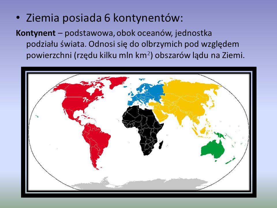 Ziemia posiada 6 kontynentów: