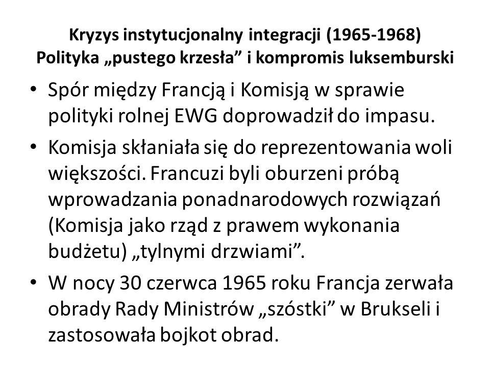 "Kryzys instytucjonalny integracji (1965-1968) Polityka ""pustego krzesła i kompromis luksemburski"