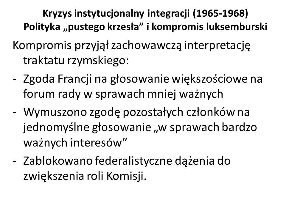 Kompromis przyjął zachowawczą interpretację traktatu rzymskiego: