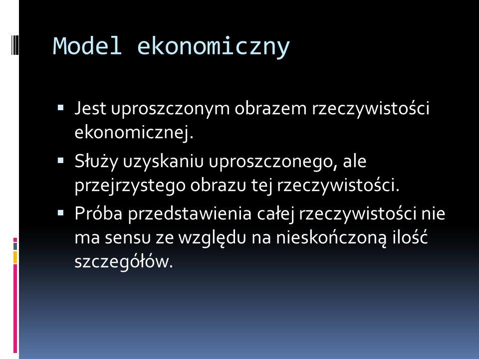 Model ekonomiczny Jest uproszczonym obrazem rzeczywistości ekonomicznej.