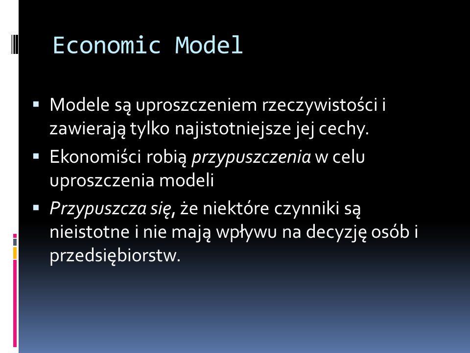 Economic Model Modele są uproszczeniem rzeczywistości i zawierają tylko najistotniejsze jej cechy.