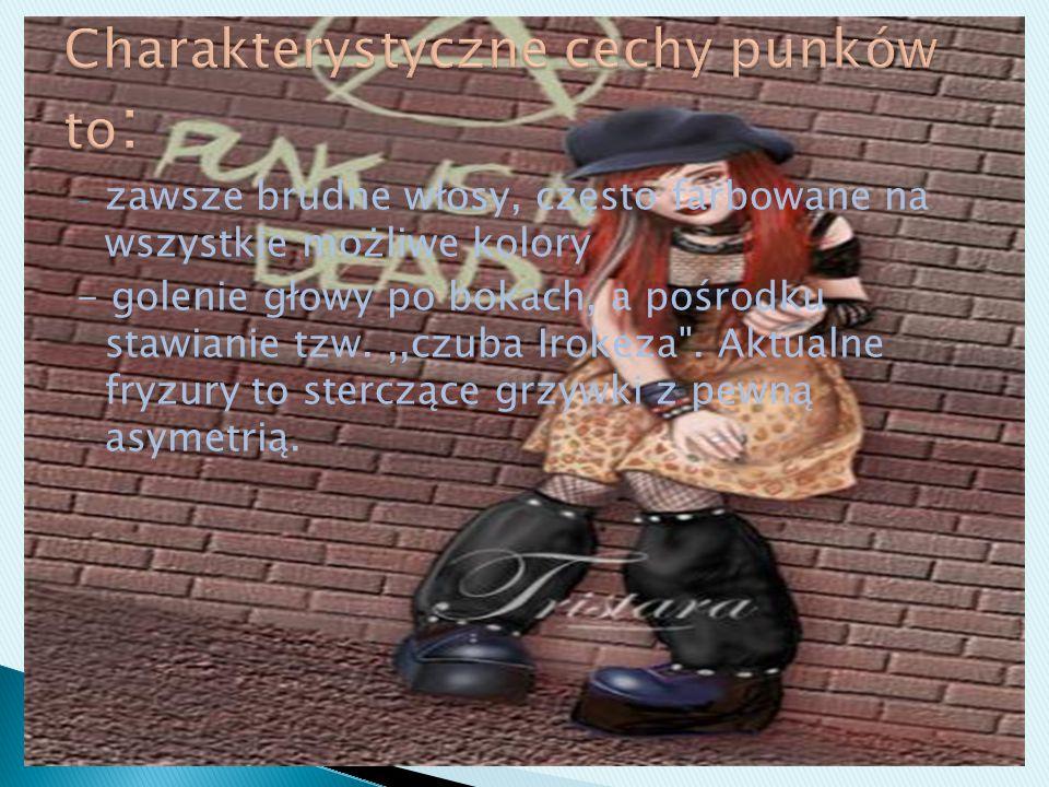 Charakterystyczne cechy punków to: