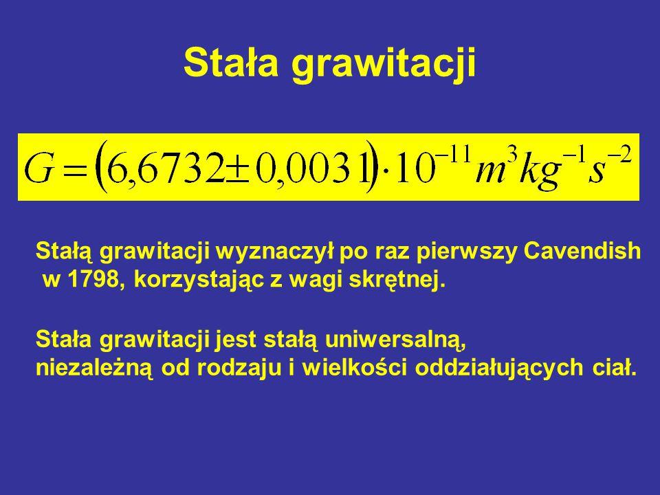 Stała grawitacji Stałą grawitacji wyznaczył po raz pierwszy Cavendish
