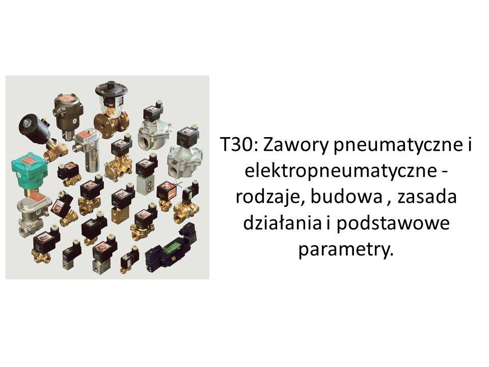 T30: Zawory pneumatyczne i elektropneumatyczne - rodzaje, budowa , zasada działania i podstawowe parametry.