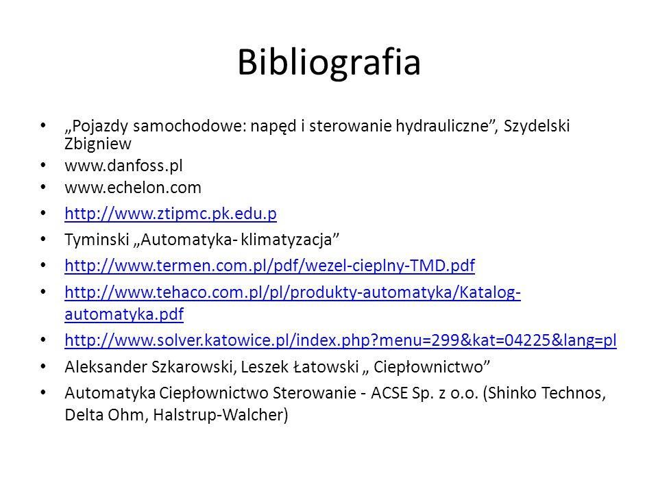 """Bibliografia """"Pojazdy samochodowe: napęd i sterowanie hydrauliczne , Szydelski Zbigniew. www.danfoss.pl."""