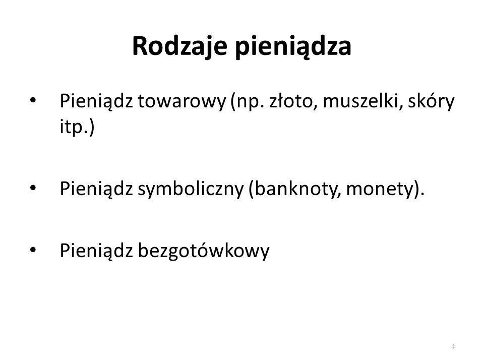 Rodzaje pieniądza Pieniądz towarowy (np. złoto, muszelki, skóry itp.)