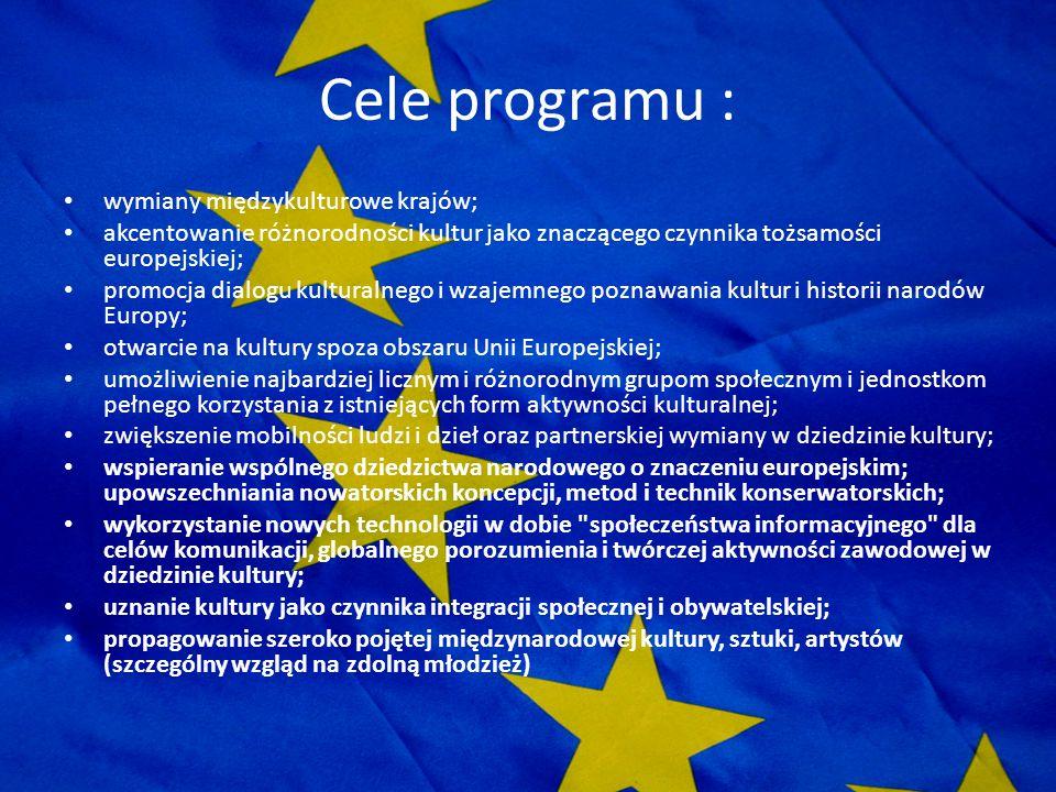 Cele programu : wymiany międzykulturowe krajów;