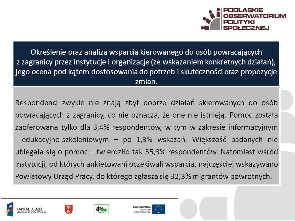 Określenie oraz analiza wsparcia kierowanego do osób powracających z zagranicy przez instytucje i organizacje (ze wskazaniem konkretnych działań), jego ocena pod kątem dostosowania do potrzeb i skuteczności oraz propozycje zmian.