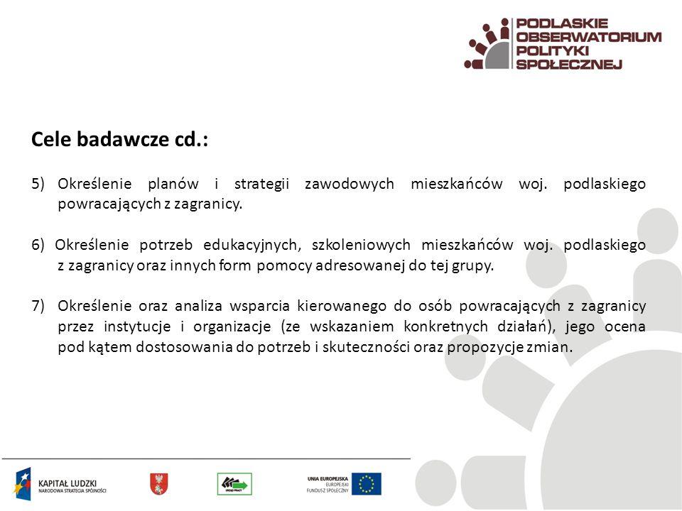 Cele badawcze cd.: 5) Określenie planów i strategii zawodowych mieszkańców woj. podlaskiego powracających z zagranicy.