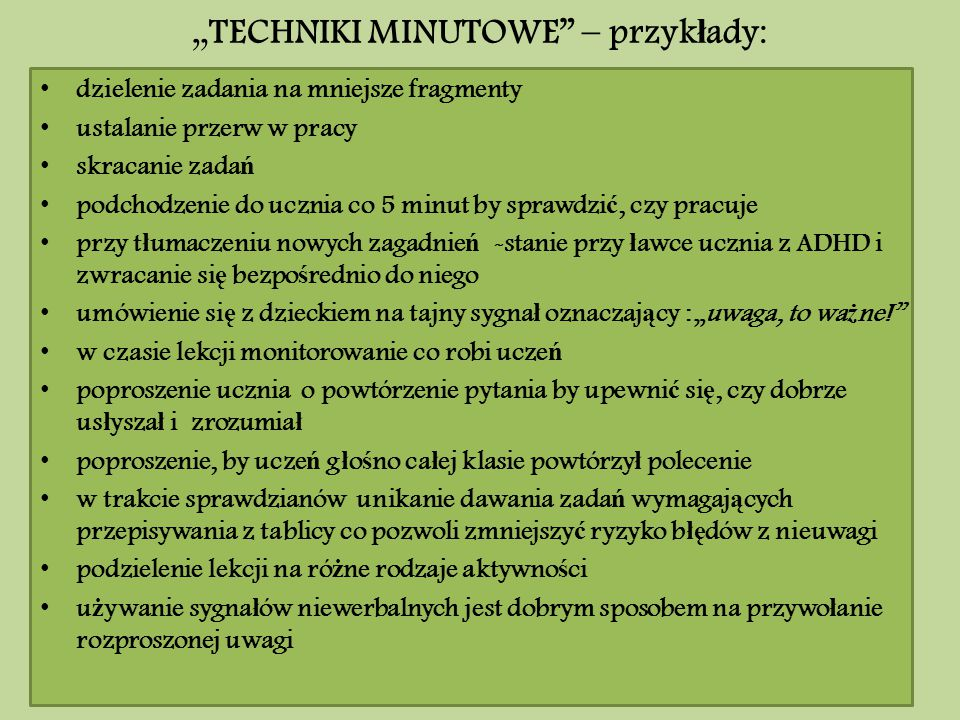 """""""TECHNIKI MINUTOWE – przykłady:"""