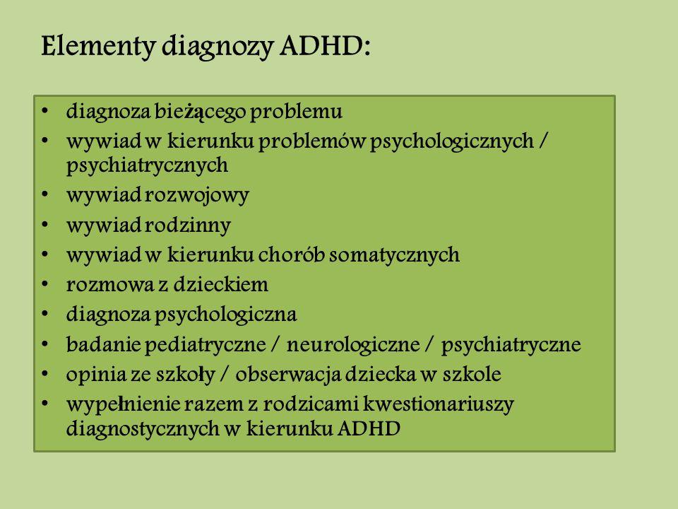 Elementy diagnozy ADHD: