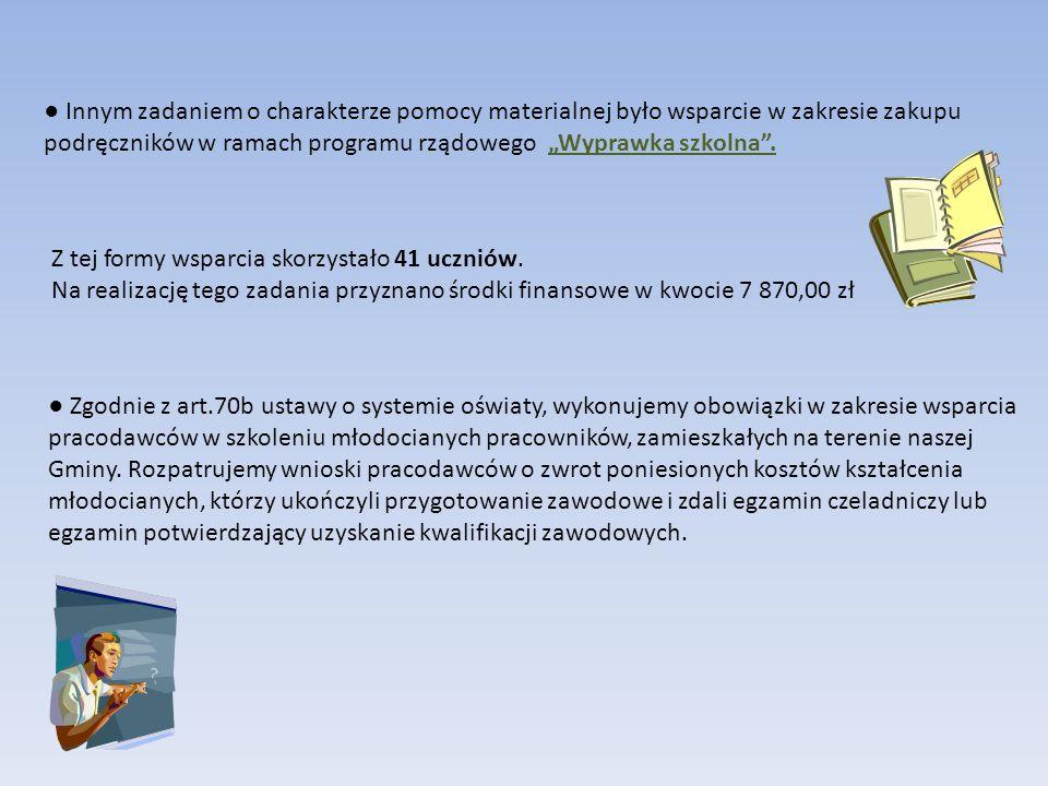 """● Innym zadaniem o charakterze pomocy materialnej było wsparcie w zakresie zakupu podręczników w ramach programu rządowego """"Wyprawka szkolna ."""