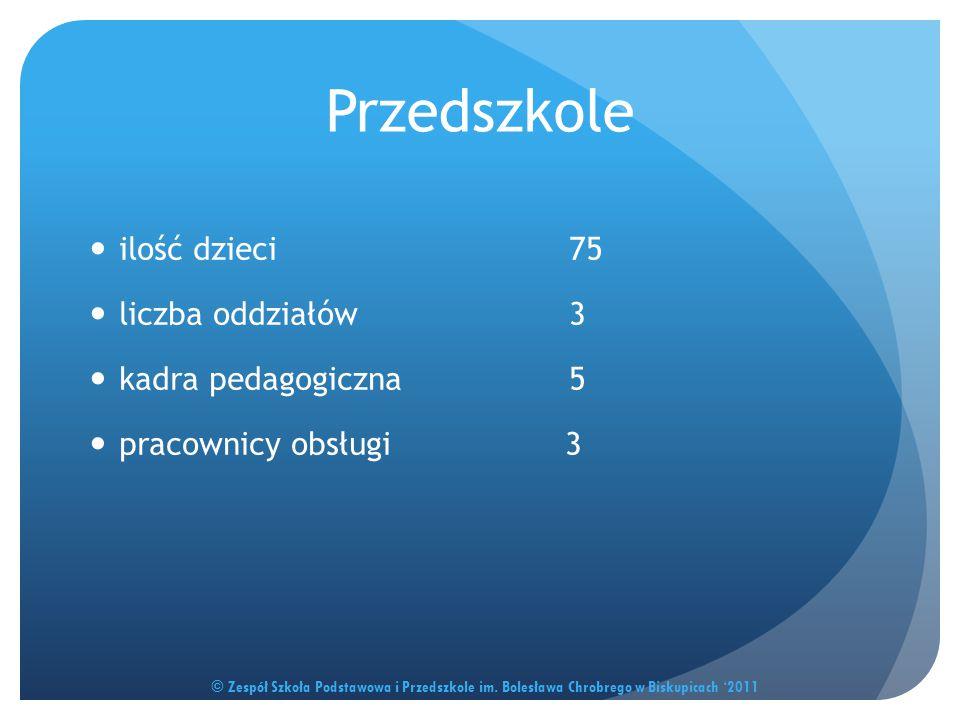 Przedszkole ilość dzieci 75 liczba oddziałów 3 kadra pedagogiczna 5