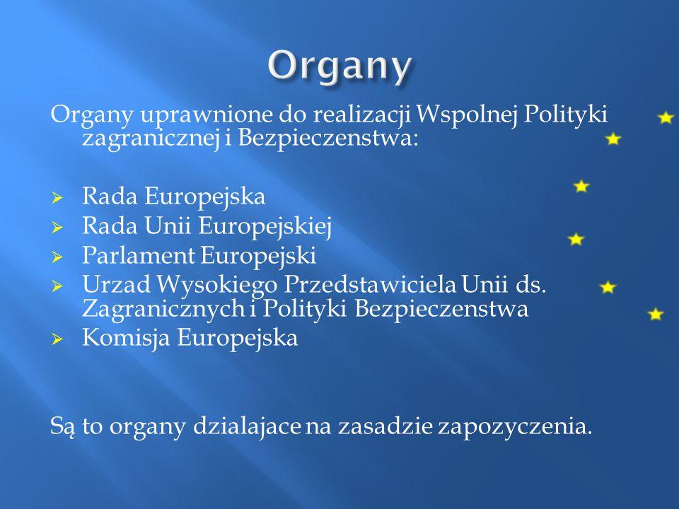 Organy Organy uprawnione do realizacji Wspolnej Polityki zagranicznej i Bezpieczenstwa: Rada Europejska.