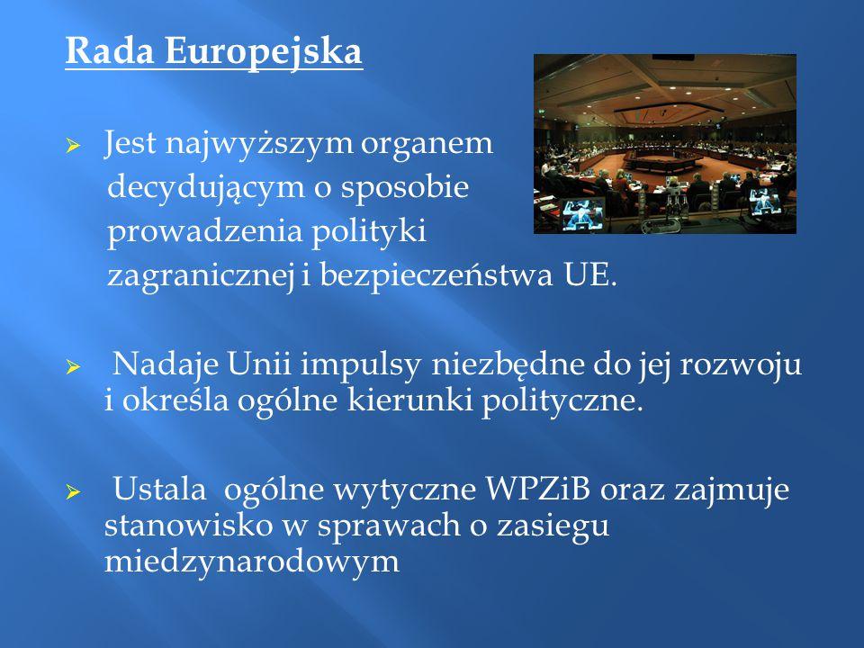 Rada Europejska Jest najwyższym organem decydującym o sposobie