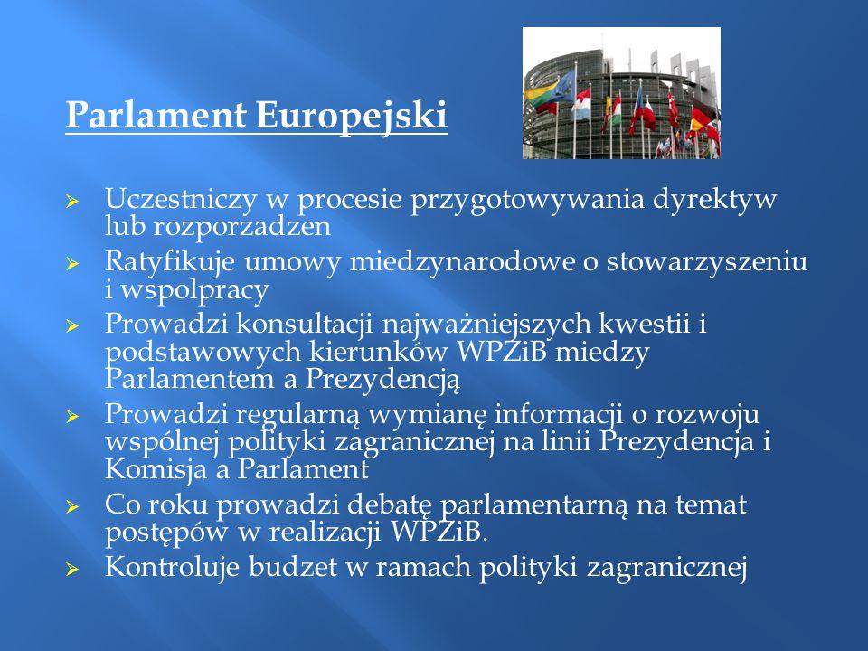 Parlament Europejski Uczestniczy w procesie przygotowywania dyrektyw lub rozporzadzen. Ratyfikuje umowy miedzynarodowe o stowarzyszeniu i wspolpracy.