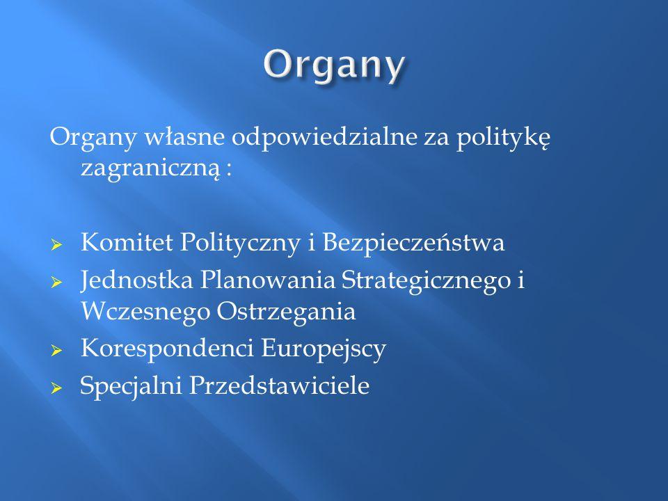 Organy Organy własne odpowiedzialne za politykę zagraniczną :