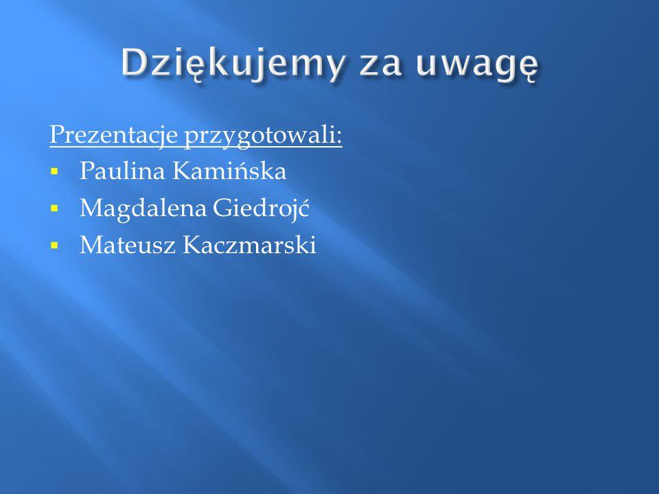 Dziękujemy za uwagę Prezentacje przygotowali: Paulina Kamińska