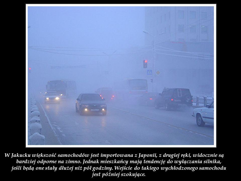 W Jakucku większość samochodów jest importowana z Japonii, z drugiej ręki, widocznie są bardziej odporne na zimno.