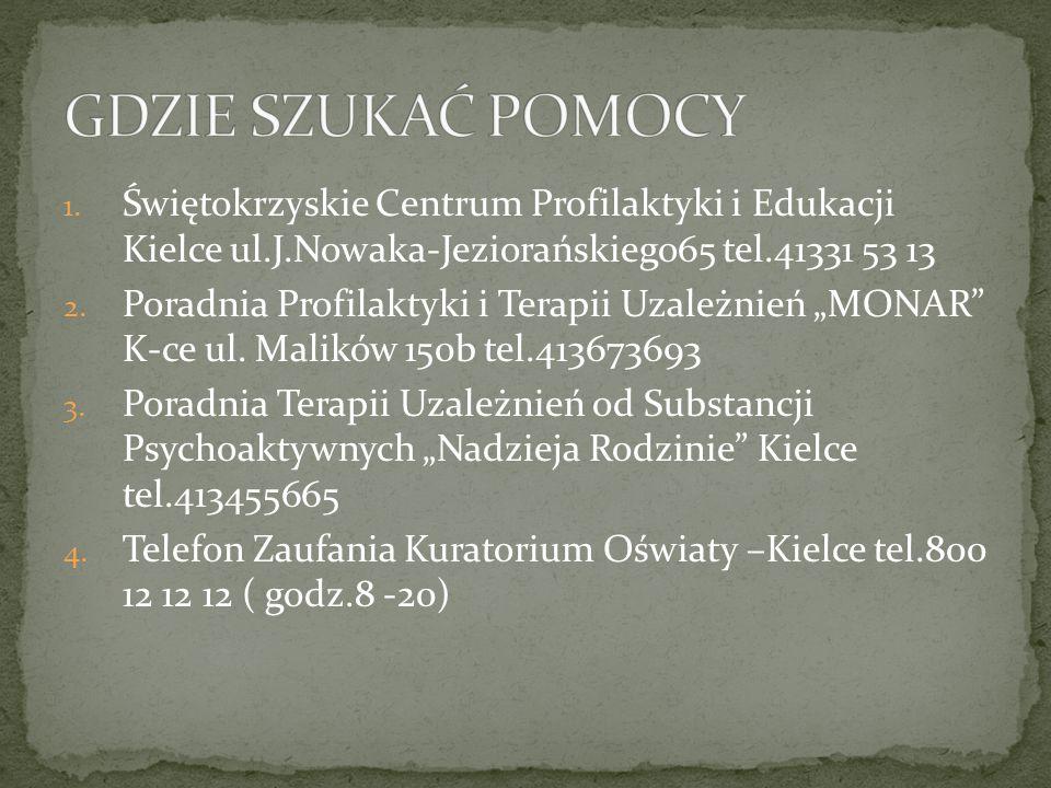 GDZIE SZUKAĆ POMOCY Świętokrzyskie Centrum Profilaktyki i Edukacji Kielce ul.J.Nowaka-Jeziorańskiego65 tel.41331 53 13.