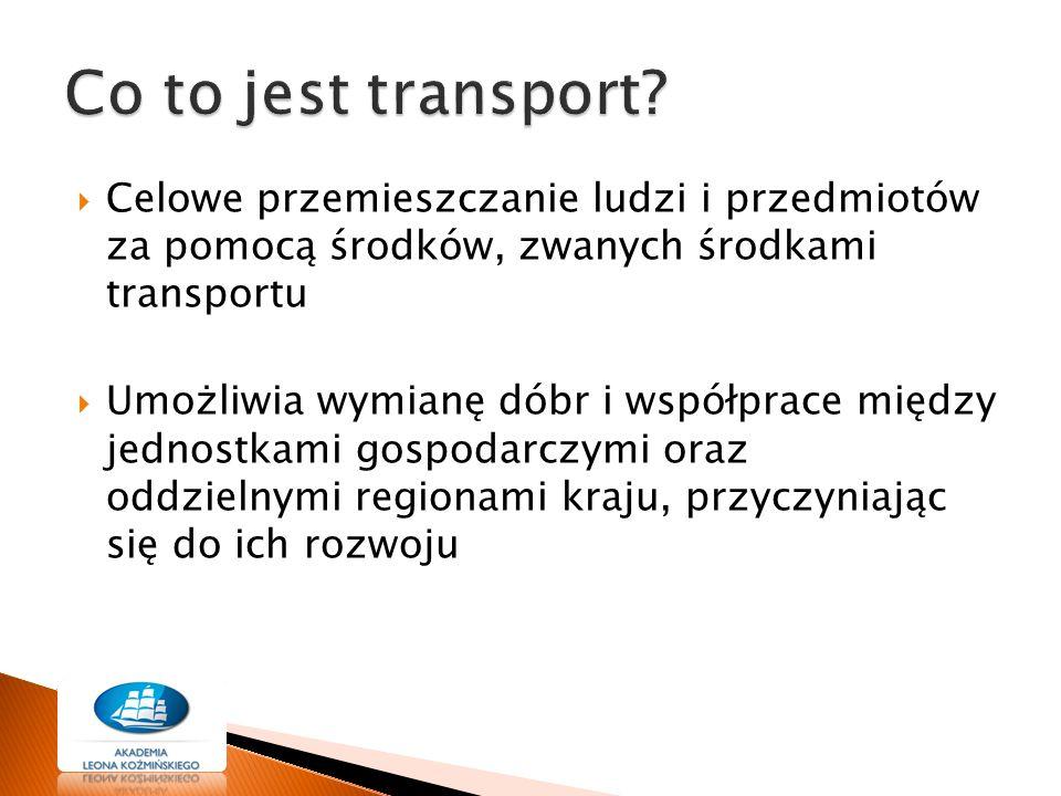 Co to jest transport Celowe przemieszczanie ludzi i przedmiotów za pomocą środków, zwanych środkami transportu.