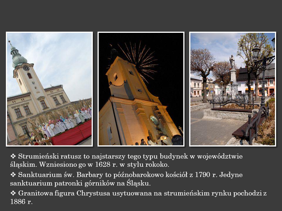 Strumieński ratusz to najstarszy tego typu budynek w województwie śląskim. Wzniesiono go w 1628 r. w stylu rokoko.