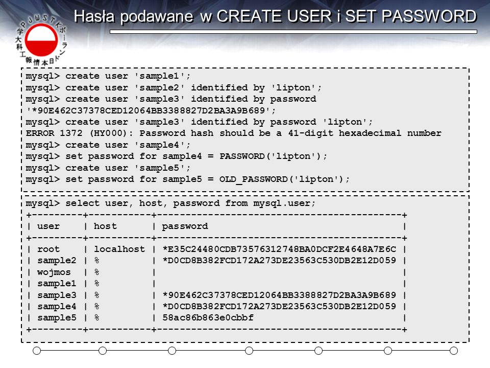 Hasła podawane w CREATE USER i SET PASSWORD