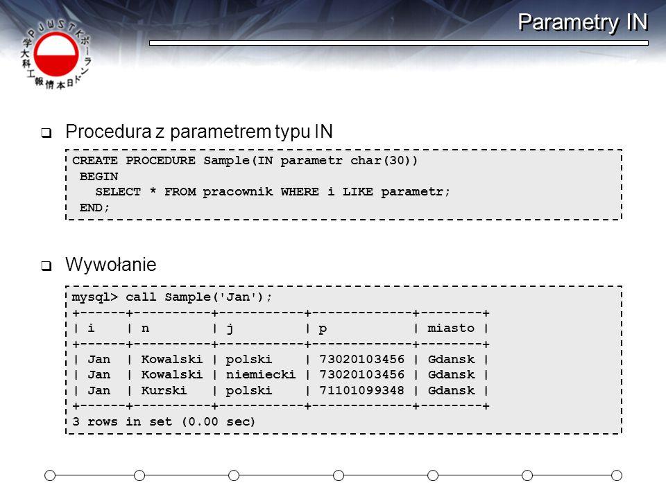 Parametry IN Procedura z parametrem typu IN Wywołanie