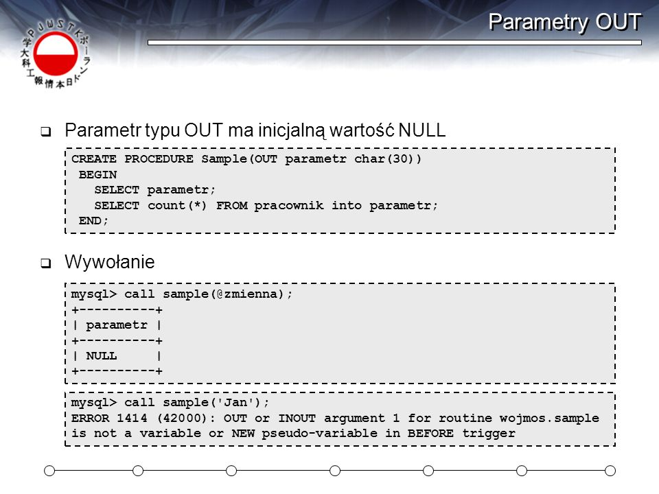 Parametry OUT Parametr typu OUT ma inicjalną wartość NULL Wywołanie