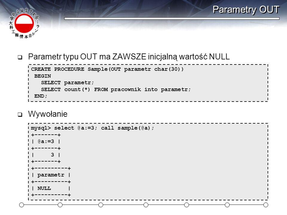 Parametry OUT Parametr typu OUT ma ZAWSZE inicjalną wartość NULL