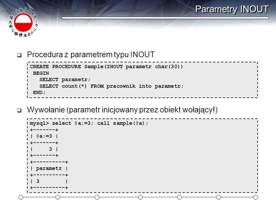 Parametry INOUT Procedura z parametrem typu INOUT