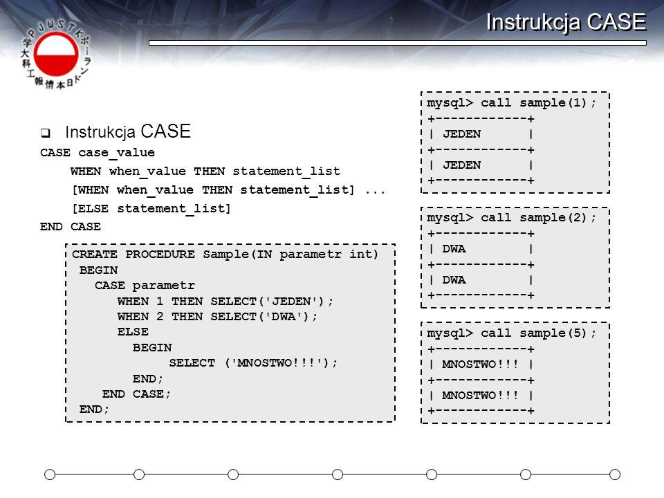 Instrukcja CASE Instrukcja CASE mysql> call sample(1);