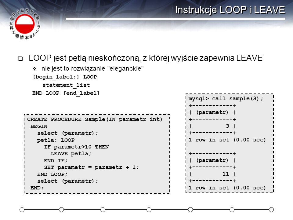 Instrukcje LOOP i LEAVE