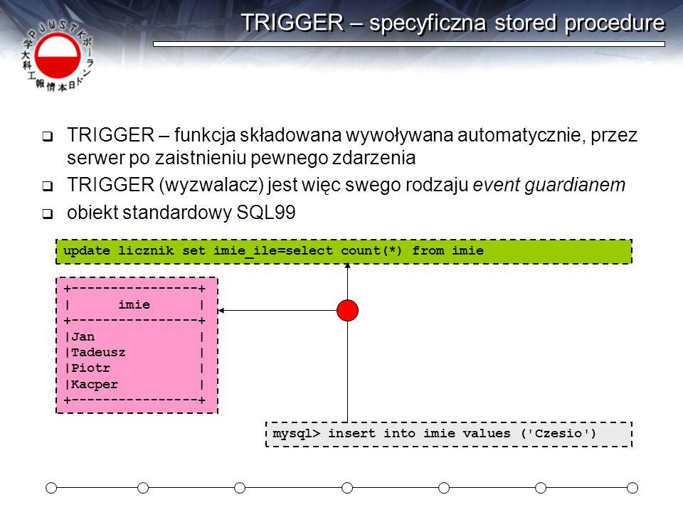 TRIGGER – specyficzna stored procedure