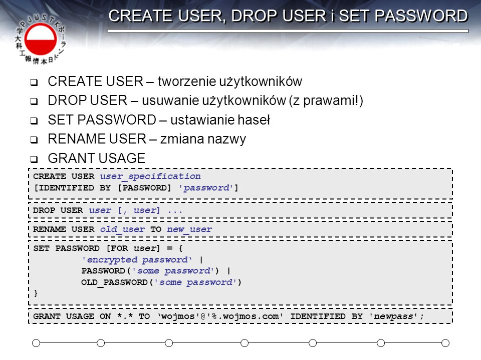 CREATE USER, DROP USER i SET PASSWORD
